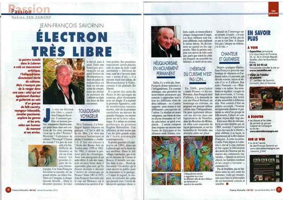 Article sur Jean-François Savornin, trimestriel Groupe France Mutuelle Magazine (Janvier 2012)