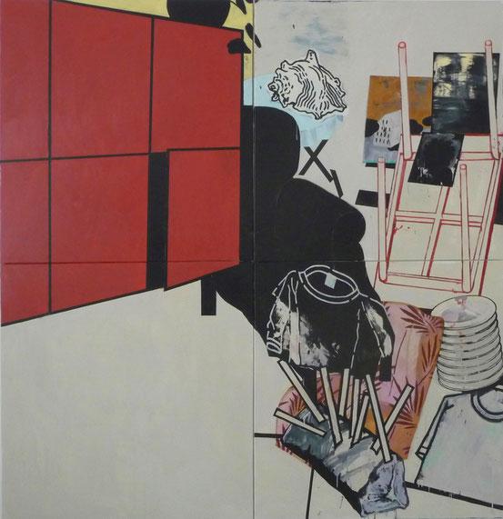 """""""Grosse Idylle/Aufstieg"""", 2010, Öl auf Leinen, 200 x 200 cm"""