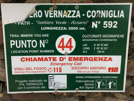 How to Hike Cinque Terre with Kids - In Case of Emergency Sign