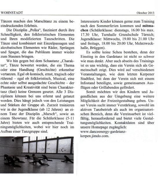 Wohnstadt-Zeitung, Türnich, Oktober 2013