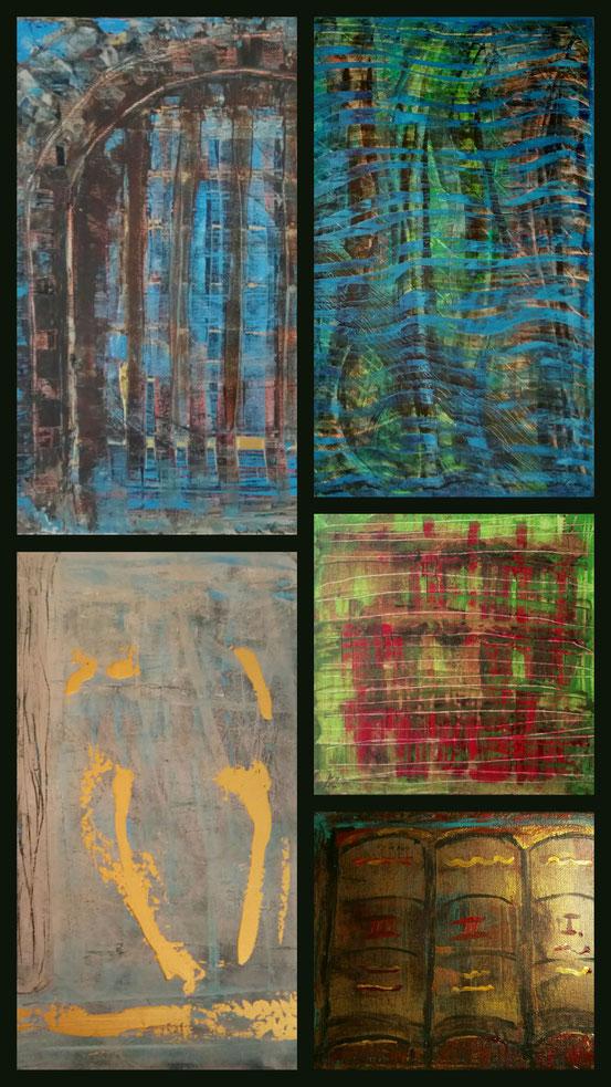 """Collage """"Historische Orte"""" aus: Das alte Tor, Wald im Monsun, Begegnung, Garten der verlorenen Söhne,  Die Schriften"""