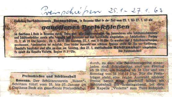 Anzeige und Pressebericht über ein Preisschießen und Rosenschützenball vom Januar 1963
