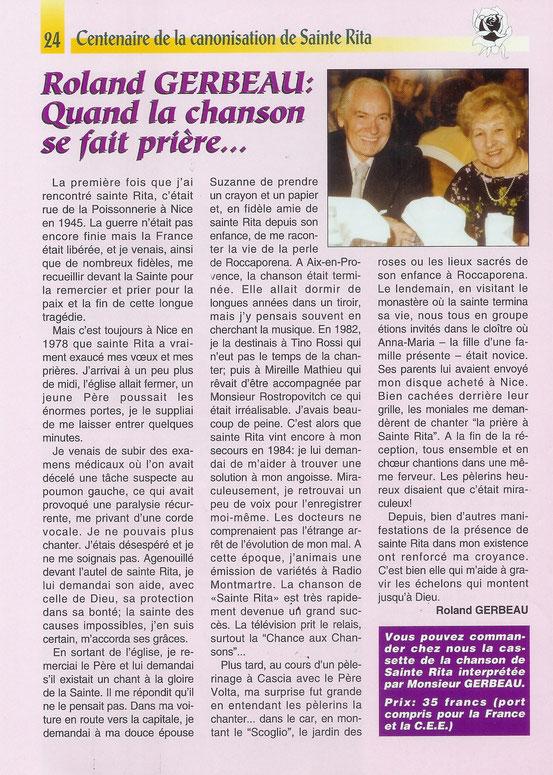 Extrait du livret Sainte-Rita N°482 de Mai 2000