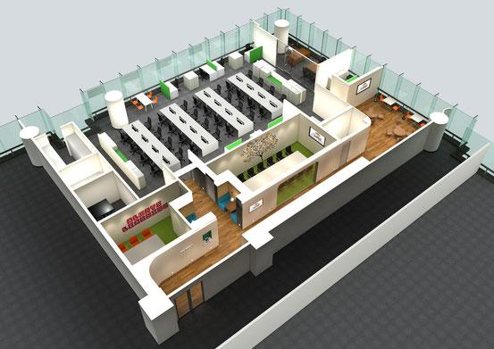 P社オフィスデザイン、鳥瞰パース