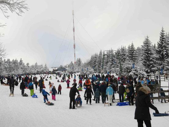 Sonntagmittag in den Skiferien: Der Rodelhang in Torfhaus ist voll