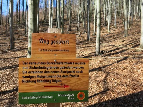 Ilsenburg, Harz, Borkenkäferpfad, Schild
