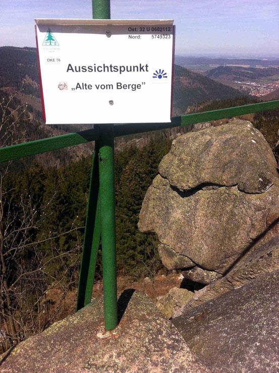 """Steinformation """"Alte vom Berge"""", der wie ein grimmiger Mann aussieht"""