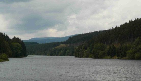 Blick von der Sperrmauer/ Trogfurter Brücke auf die Überleitungssperre Königshütte