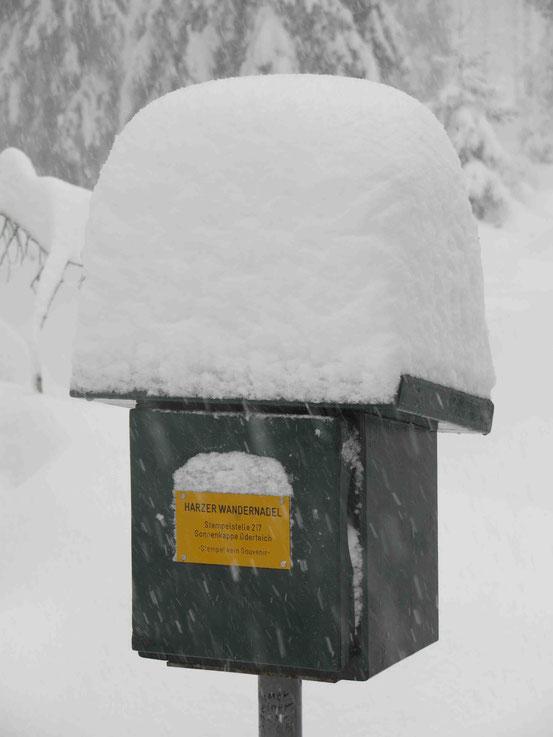 Stempelkasten Harzer Wandernadel im Schnee