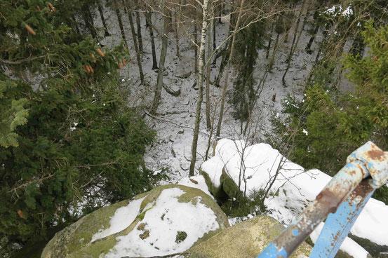 Blick von den Schnarcherklippen nach unten