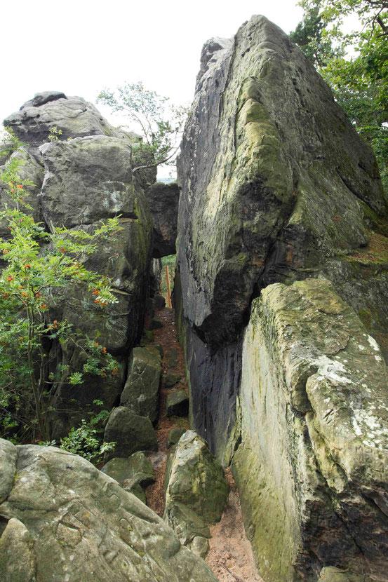 Wanderweg Teufelsmauer, Felsen am schwierigen Kammweg
