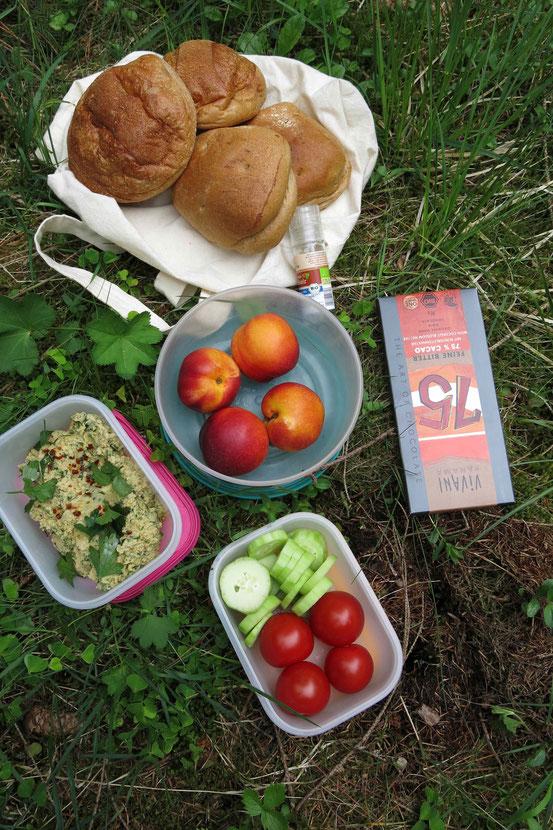 Picknick mit Brötchen, Hummus, Tomaten, Gurken, Nektarinen, Schokolade