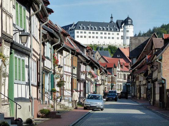 Schloss Stolberg und Fachwerkhäusser in der Niedergasse in Stolberg