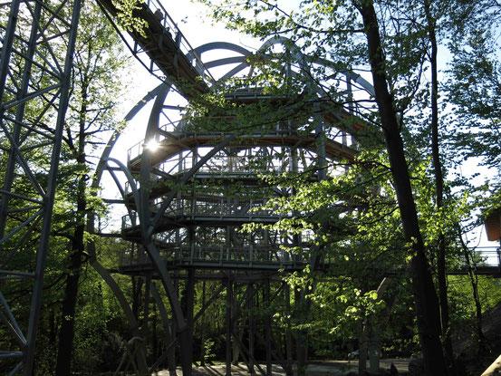 Baumwipfelpfad Bad Harzburg: Der Eingangsturm aus Stahl mit abgehendem Weg