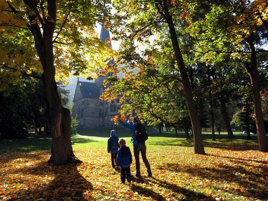 Herbststimmung im Kurpark Thale, gefärbtes Laub, Kirche im Hintergrund
