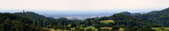 Blick auf die Starkenburg und die Oberrheinische Ebene