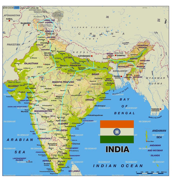 Route Indien - India