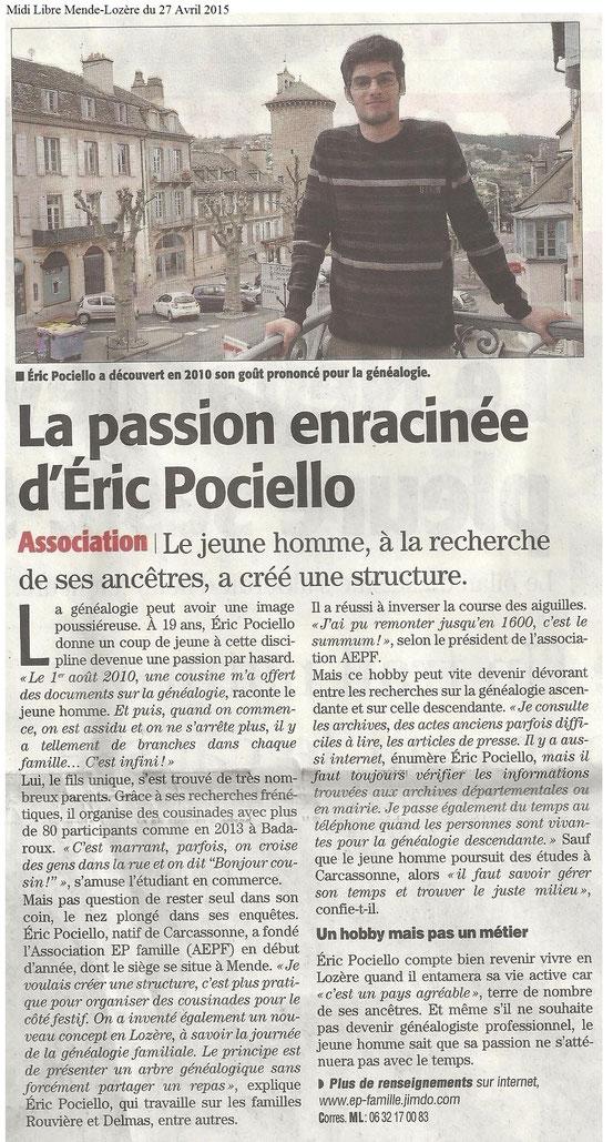 Midi Libre Mende-Lozère  du 27 Avril 2015