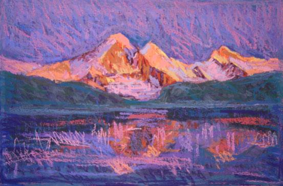 Eiger, Mönch, Jungfrau im Abendlicht (Pastell)