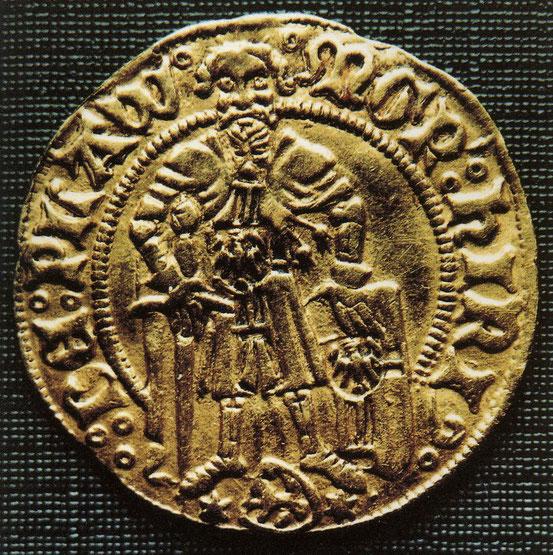 1410-1413 гг. Gulden время Хайнриха фон Плауена диаметр 21 мм