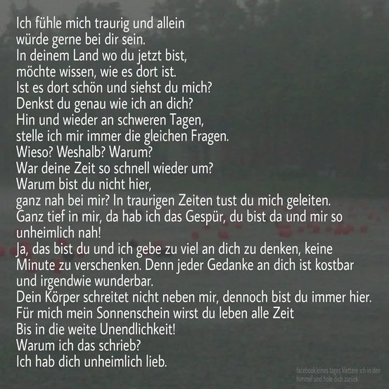 Quelle: https://www.facebook.com/Eines-Tages-klettere-ich-in-den-Himmel-hole-dich-zurück