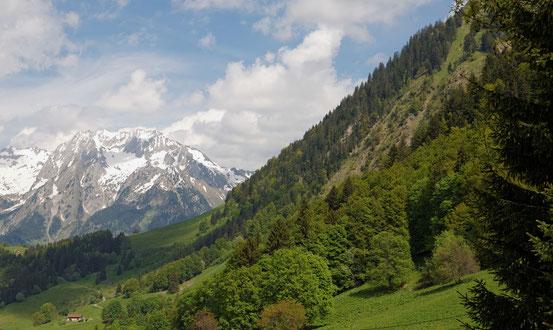 à droite, début de la montagne de SULENS, au fond, les Aravis