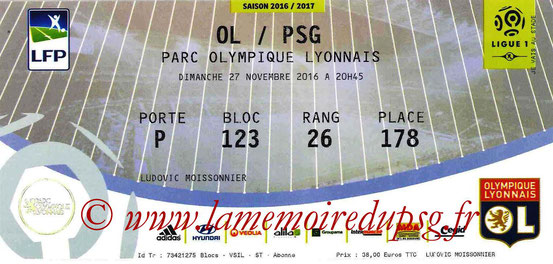 Ticket  Lyon-PSG  2016-17
