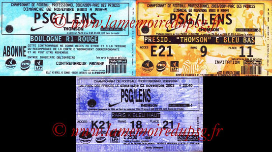 Tickets  PSG-Lens  2003-04
