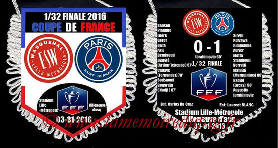 Fanion  Wasquehal-PSG  2015-16