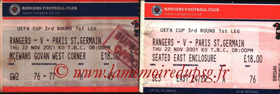 Tickets  Rangers-PSG  2001-02