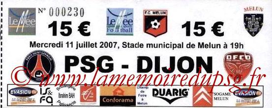 Ticket  PSG-Dijon  2007-08