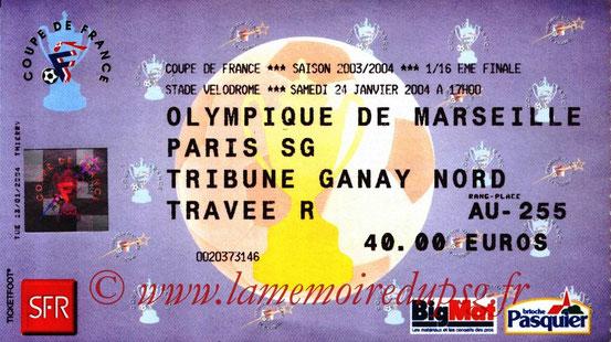 Ticket  Marseille-PSG  2003-04