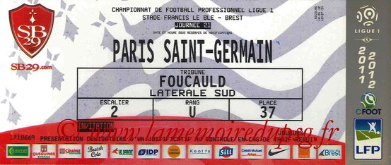 Ticket  Brest-PSG  2011-12