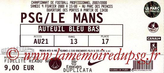 Ticket  PSG-Le Mans  2007-08