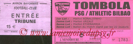 Ticket  Bilbao-PSG  2002-03