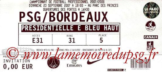 Ticket  PSG-Bordeaux  2007-08