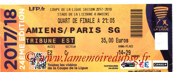 Ticket  Amiens-PSG  2017-18