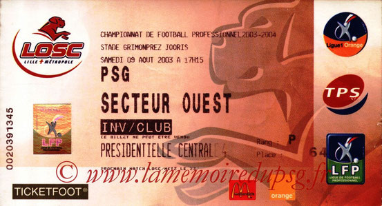 Ticket  Lille-PSG  2003-04