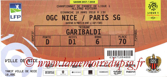 Ticket  Nice-PSG  2017-18