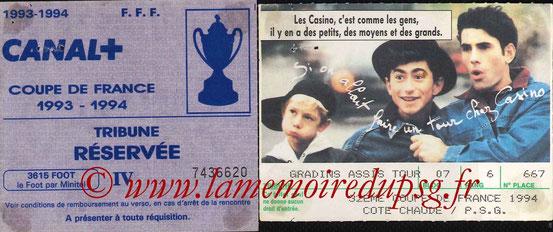 Ticket  Cote Chaude-PSG  1993-94