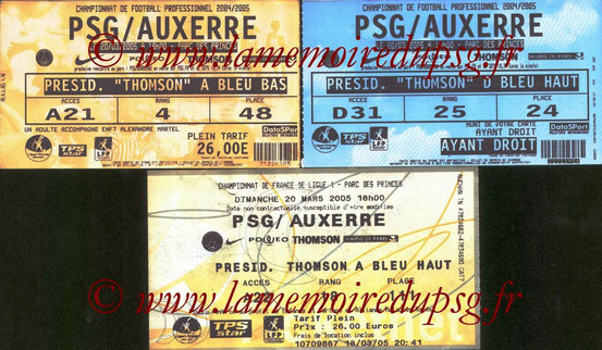Tickets  PSG-Auxerre  2004-05