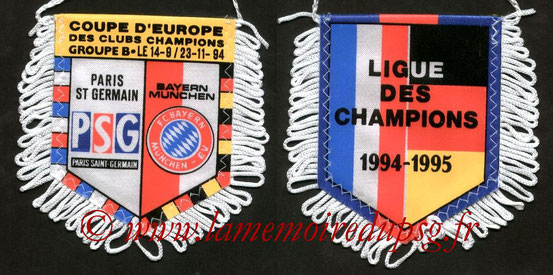 Réédition Fanion  PSG-Bayern Munich  1994-95