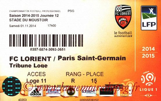 Ticket  Lorient-PSG  2014-15