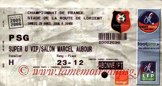 Ticket  Rennes-PSG  2005-06