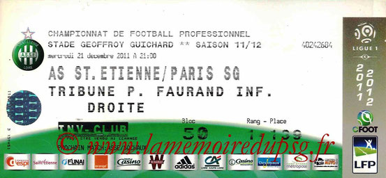 Ticket  Saint-Etienne-PSG  2011-12