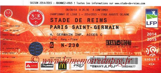 Tickets Reims-PSG  2014-15