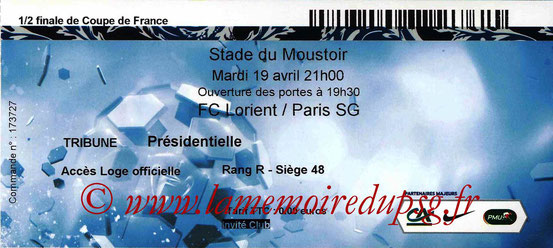 Ticket  Lorient-PSG  2015-16