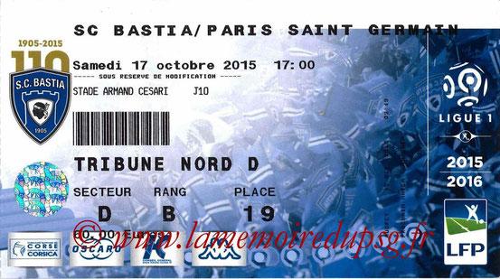 Ticket  Bastia-PSG  2015-16