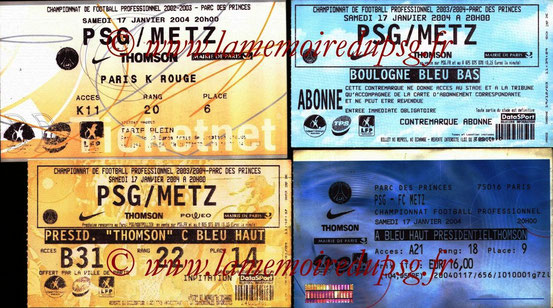 Tickets  PSG-Metz  2003-04