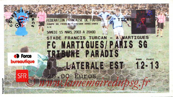 Ticket  Martigues-PSG  2002-03